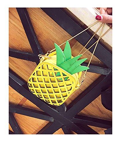 hombro bolso la piña en forma Girl bolsa de único de de Crossbody amarillo amarillo cuero de bolso forma de Badiya qa8P0vx6x