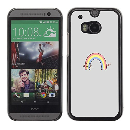 All Phone Most Case / Hard PC Metal piece Shell Slim Cover Protective Case for HTC One M8 rainbow cat rainbow drawing cute