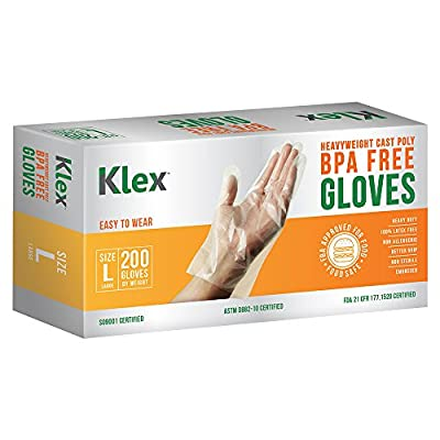 200 Heavyweight Cast Poly Disposable Kitchen Gloves M L Medium Large, BPA Free, Food Grade