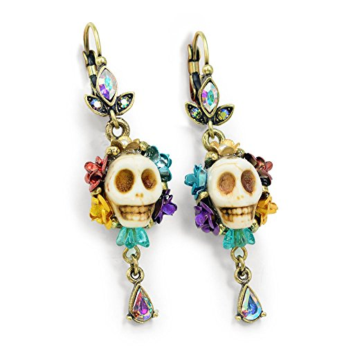 Day of the Dead - Skull Earrings - Dia de los Muertos Earrings - Calavera Earrings - Dia de Muertos Jewelry - Colorful Skull Earrings, Mexican Jewelry (Bone) …