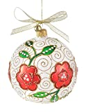 Monique - JingleNog - Mouth Blown Hand Painted Polish Glass Flower Patterned Christmas Ball Decoration in Gift Box with Story Card