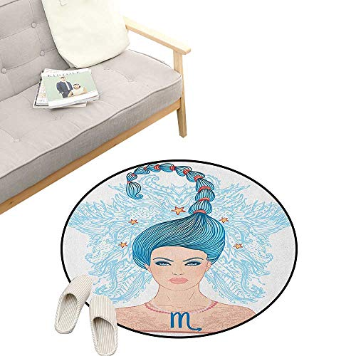 Zodiac Scorpio Round Rug ,Young Astrology Lady with Blue Hair as Scorpion Tail and Floral Details, Flannel Microfiber Non-Slip Soft Absorbent 31