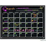Dry Erase Calendar Magnetic Chalkboard Design Waterproof Flexible Magnet Board for Refrigerator Black Fluorescent Magnetic Organizer Board Fridge Calendar Magnet Chalk Marker Board Planner Monthly