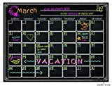 Refrigerator Magnetic Dry Erase Calendar Chalkboard Design Waterproof Flexible Magnet Board Black Fluorescent Magnetic Organizer Board Fridge Calendar Magnet Chalk Marker Board Planner Monthly