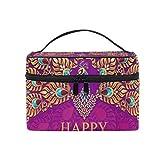 Makeup Organizer Happy Diwali Peacock Womens Zip Toiletry Bag Large Makeup Case Cute Cosmetic Bags for Girls