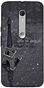 Snoogg Eiffel Love Designer Protective Back Case Cover For Motorola Moto X Style