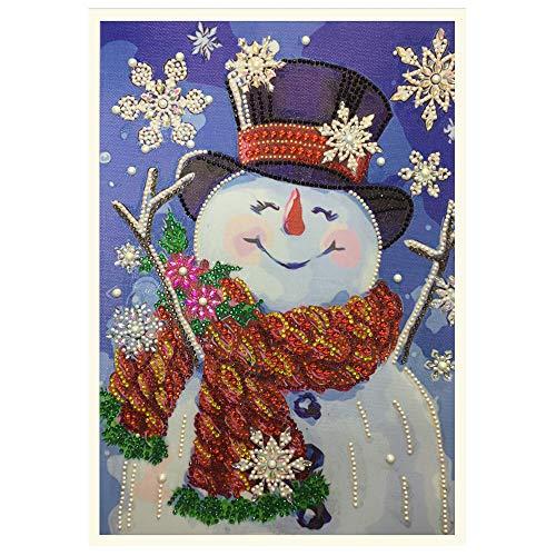 Elogoog 1 Pack 5D DIY Diamond Painting Kits Snowman Full Drill Rhinestone Embroidery Cross Stitch Painting for Christmas Home Decor -