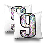 Soopat Decorativepillows Covers 18''x18'' set of 2, Two Sides Printed Splattered Letter Number Nine An Artsy Multicolor Ink Splash Or Bold Font Isolated OnWhite Clipping Path Throw Pillow Cases