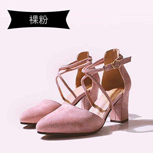 Jqdyl High Heels 018 neue Wort Schnalle Baotou Sandalen Sommer dick mit spitzen Schuuml;ler Mauml;dchen  37|Bare pink