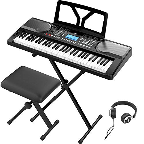 RIF6 Electric 61 Key Piano Keyboard - with Over Ear Headphones, Music Stand, Digital LCD Display, Teaching Modes and Adjustable Stool - Musical Instruments Starter Set for Kids and Adults