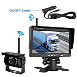 Wireless Built in Backup Camera and 7'' Monitor kit Rear View Camera Waterproof IR Night Vision Parking Assistance System with Grid Lines optional for RV Truck Trailer Camper 5th wheel
