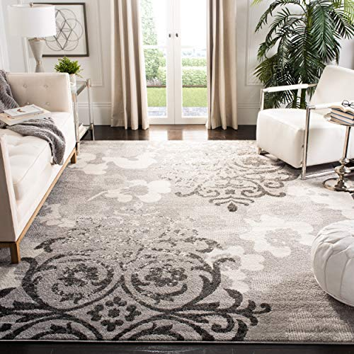 Safavieh Adirondack Collection ADR114B Silver and Ivory Contemporary Chic Damask Area Rug (12' x - 18' Rug X 12'