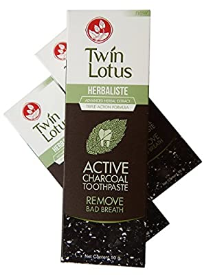 Twin Lotus Active Charcoal Toothpaste Herbaliste Triple Action 50 g (1.6 Oz) X 3 Tubes (FBA)