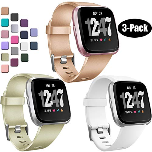Wepro Bands Compatible with Fitbit Versa SmartWatch, Watch Replacement Band for Women Men Kids, Small, 3 Pack, Rose Gold, Champagne, White