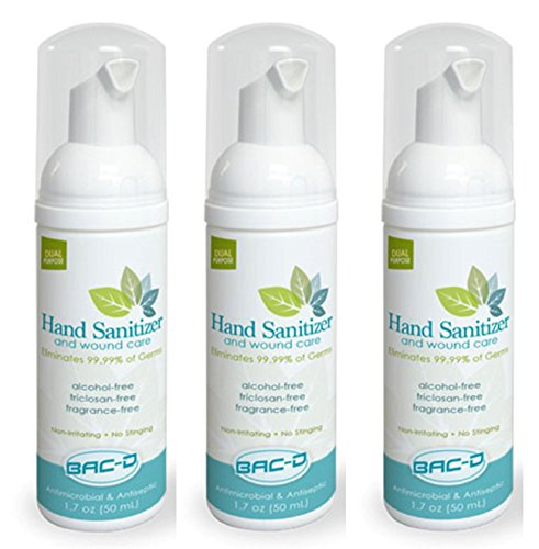 BAC-D 607 Alcohol Free Hand Sanitizer and Wound Care, 1.7 oz. (Pack of 3) ()