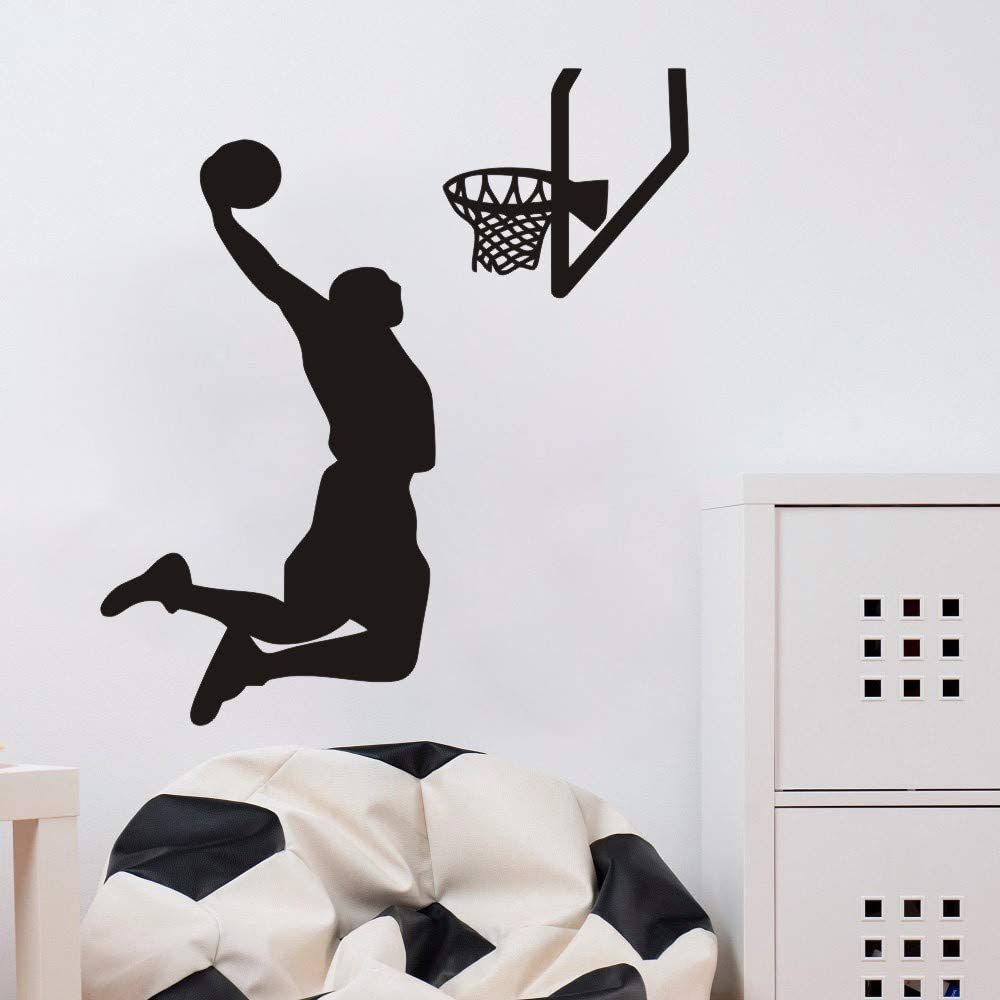 Home Decal Boy Room Sports Basketball Player Wall Decal Interior Design Shoot Basket Home Room Wall Decor Sticker Vinyl Sport Decal for Boys Bedroom (Black, 57x65cm Finished)