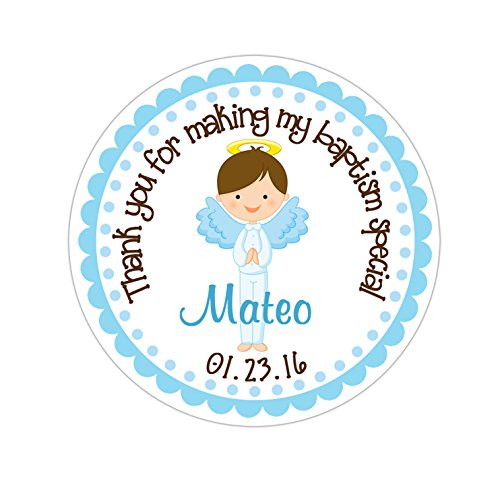 Personalized Customized Baptism Party Favor Thank You Stickers - Brown Hair Angel Boy - Round Labels - Choose Your Size