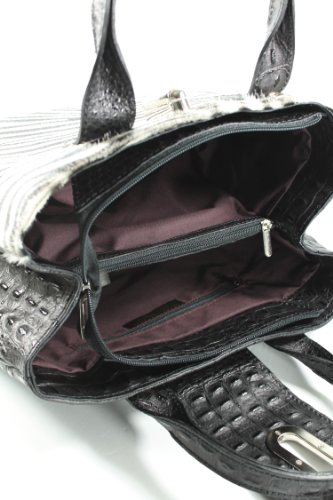 Belli - Bolso de asas de cuero repujado para mujer negro negro