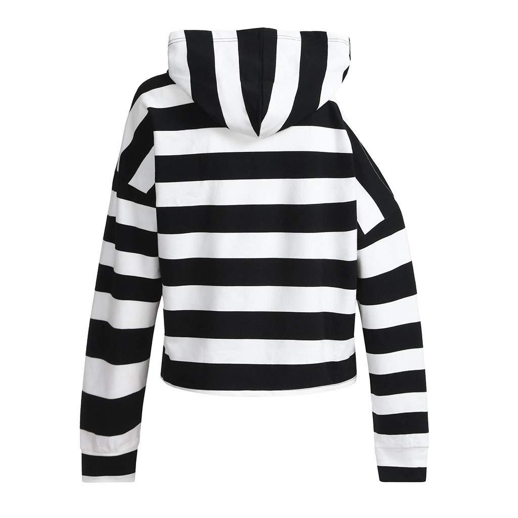 Orangeskycn Women Sweatshirts and Hoodies Stripe Cold Shoulder Pullover Tops