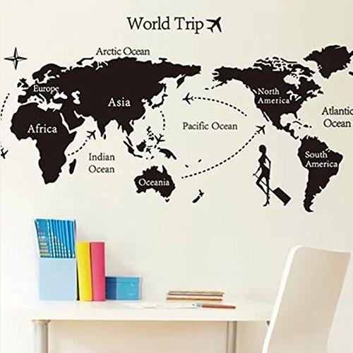 Bluelover Universale Mondo Nero Mappa Sticker Tour Ecologico Decorazione Prezzi