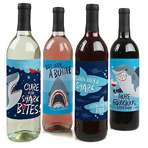 Party Bottle Wine (Shark Zone - Jawsome Shark Party Wine Bottle Label Stickers - Set of 4)