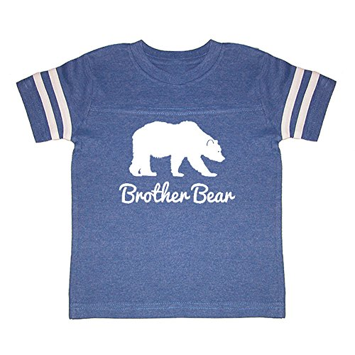 Football Print T-shirt (We Match! Brother Bear (White Print) Toddler & Kids Football T-Shirt (Royal Football, Youth LG))