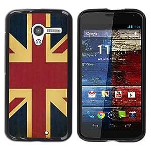 Reino Unido Reino Unido Inglaterra Bandera Gb - Metal de aluminio y de plástico duro Caja del teléfono - Negro - Motorola Moto X 1 1st GEN I