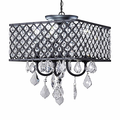 Diamond Life 4 Light Antique Black Square Metal And Crytal Shade Crystal Chandelier Pendant Hanging Ceiling Fixture