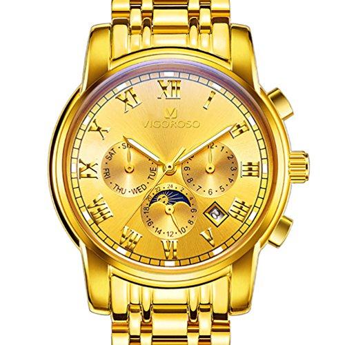 VIGOROSO Men's Business Quartz Analog Date Waterproof Luxury Stainless Steel Wrist Watch (Gold) -