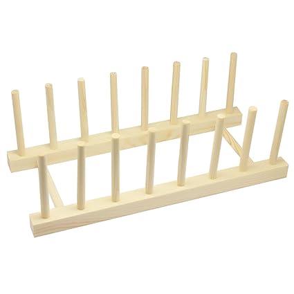 Plato plegable de madera SelfTek escurreplatos 7 placas placa de soporte  escurridor de cocina c740c0cf92c1