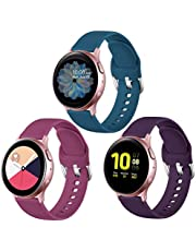 Lerobo Compatible with Samsung Galaxy Active 2 Watch Bands 40mm 44mm, Galaxy Watch Active Bands, Galaxy Watch bands 42mm, 20mm Silicone Sport Strap,3 Pack,Small,Purple,Slate Blue,Wine