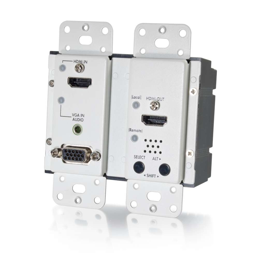 C2G/Cables to Go 29301 HDMI  and VGA + Stereo Audio HDBaseT over Cat5 Extender Wall Plate Transmitter - White