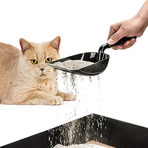 DaTOOL Cat Litter Scoop with Flexible Long Handle,Deep Shovel Sifter Durable Solid Aluminum, Non-Stick Deep Scoop,Waterproof and Rust Resistant Perfect for Sifting Kitty Litter Cats (Black)