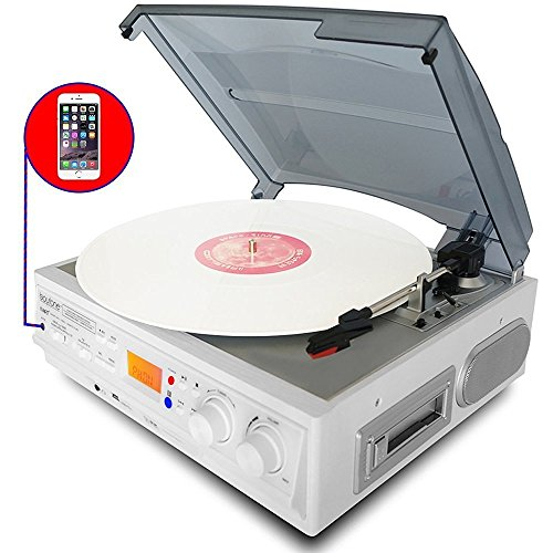 Boytone BT-37WT-C White Color Limited Edition 3-Speed Stereo Turntable, 2 Built-In Speakers, LCD Display, AM/FM Radio, USB/SD/AUX+ Cassette/MP3 & WMA Playback/Recorder/ Headphone Jack , Remote control ()
