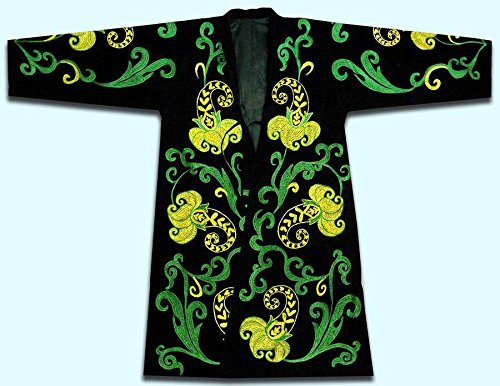 BEAUTIFUL UZBEK SILK EMBROIDERED ROBE CHAPAN N708 by East treasures