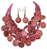 Pink Hawaiian Flower 3 Row Painted Wood Disk Beaded Bib Statement Necklace & Earrings Set