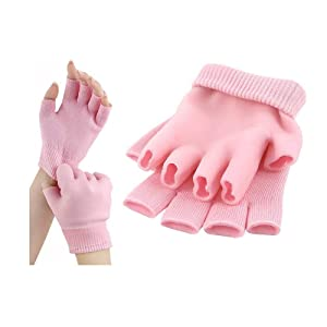 Topwon Moisturizing Spa Gloves -Thermoplastic Gel Whitening Beauty Healthy Spa Skin Care Therapy Treatment hydrating Gloves Thermoplastic Gel Moisturizer Lotion For Dry Skin (Pink)
