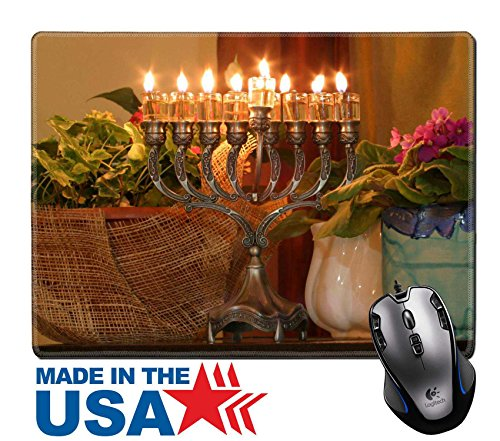 "MSD Natural Rubber Mouse Pad/Mat with Stitched Edges 9.8"" x 7.9"" IMAGE ID: 912462 Golden Hanukkah menorah - Brass Traditional Menorah"