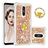 Amocase Glitter Liquid Case with 2 in 1 Stylus for LG Stylo 5,Luxury Cute Diamond 360 Ring Holder Bling Stand Flexible Soft Rubber TPU Shockproof Clear Case for Women Girls,Gold Hearts