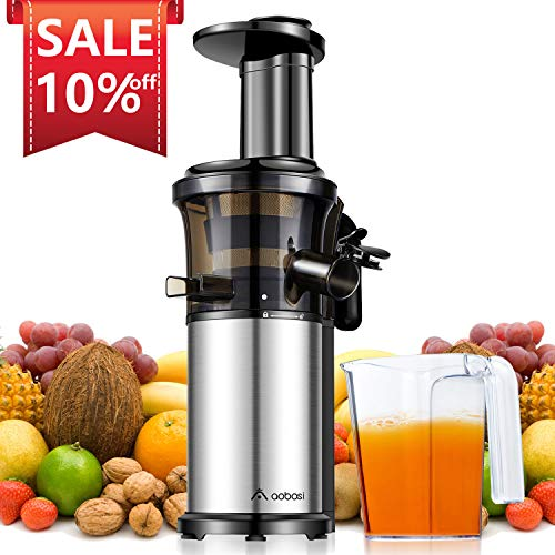 Aobosi Slow Masticating Juicer Extractor Compact Cold Press Juicer Machine with Portable Handle/Quiet Motor/Reverse Function/Juice Jug and Clean Brush for High Nutrient Fruit & Vegetable Juice (Best Juicer Without Pulp)