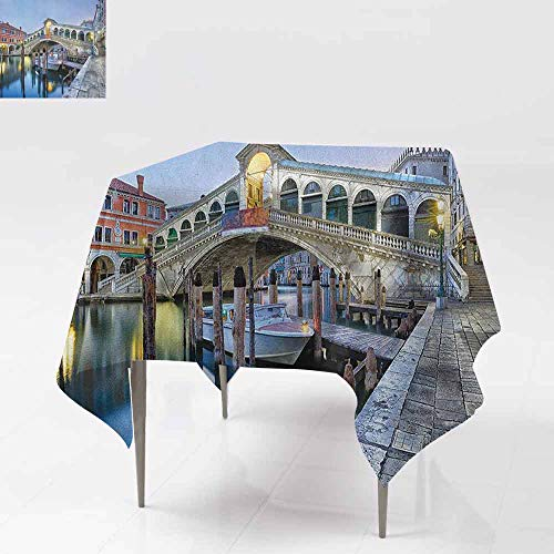 - AndyTours Fashions Table Cloth,Venice,Morning Twilight Grand Canal Rialto Bridge Water Reflection Scenic Urban,for Banquet Decoration Dining Table Cover,60x60 Inch Silver Blue Cinnamon