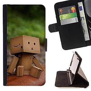 BullDog Case - FOR/Sony Xperia Z2 D6502 / - / Cute Paper Box Man /- Monedero de cuero de la PU Llevar cubierta de la caja con el ID Credit Card Slots Flip funda de cuer