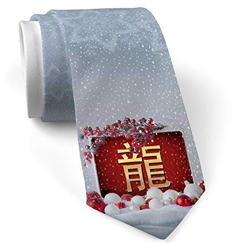 Christmas NeckTie Dragon Chinese characters, letter red/yellow White with Snow ()