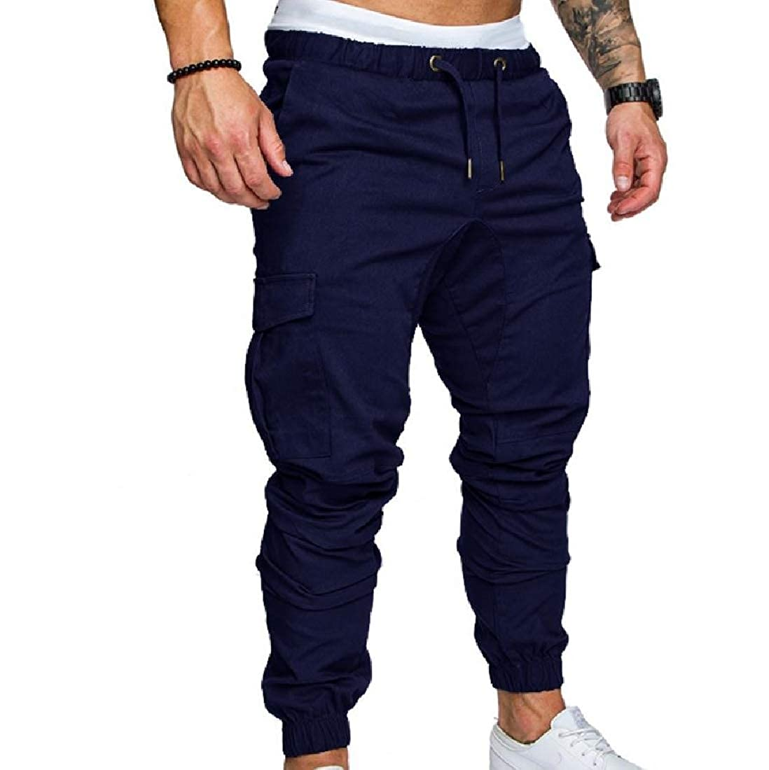 YUNY Mens Leisure Plus-Size Cargo Harem Comfortable Fit Jogger Pants Navy Blue M