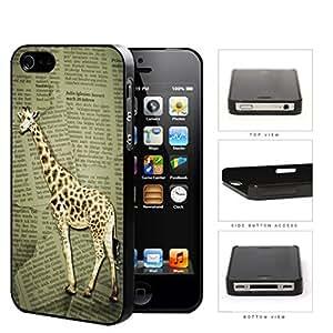 Safari Giraffe On Scrap Newspaper Hard Plastic Snap On Cell Phone Case Apple iPhone 4 4s by supermalls