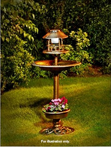 Bronze Effect 3 in1 Bird Bath with Solar Ultra bright LED light & garden Planter. Scotrade