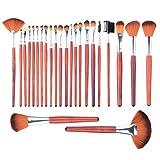 Makeup Brush, PeleusTech 24Pcs Wooden Handle Professional Cosmetic Makeup Brush Set with Black PU Leather Case