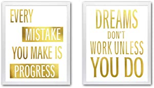 Motivational Quotes Cardstock Art Print Typography Gold Foil Print,Inspirational Phrase&Letter Poster,Inspiring Wall Art For Living Room Home Decor-With 2 White Frames(8x10 inch) Ready to Hang
