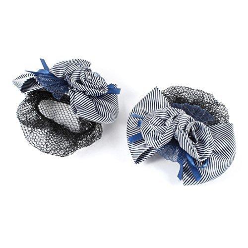 eDealMax Fleur Agrémentée Bowknot Stripe Imprimer Clip Hair w Snood net 2pcs