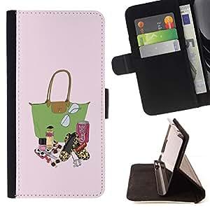 Momo Phone Case / Flip Funda de Cuero Case Cover - Moda Señora Bolsa Pintalabios Pintura monedero - Huawei Ascend P8 Lite (Not for Normal P8)